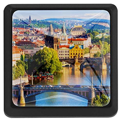 Bennigiry Tschechische Republik Prag Fluss Quadratisch Kristallglas Schranktürknauf Ziehgriffe ergonomisch Schubladengriffe 3 Stück