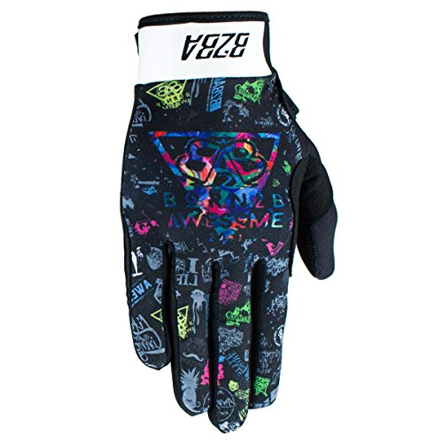 B2BA Clothing RACEWEAR leichte Handschuhe Mountain Bike Downhill Enduro Motocross Freeride DH MX MTB BMX Quad Cross, schnelltrocknend, rutschfest und atmungsaktiv, Farbe Schwarz Multicolor, Größe XS