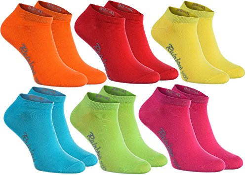 Rainbow Socks - Damen Herren Baumwolle Bunte Sneaker Socken - 6 Paar - Orange Rot Gelb Teal Grün Magenta - Größen 36-38