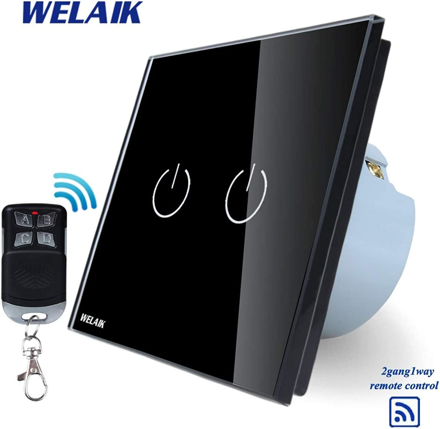 WELAIK Glass Panel Switch Black Wall Switch EU Remote Control Touch Switch Screen Light Switch 2gang1way AC110250V A1923BR01
