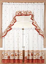 3 Pieces Kitchen/Cafe Curtain Tier and Swag Set (Coffee with Latte)