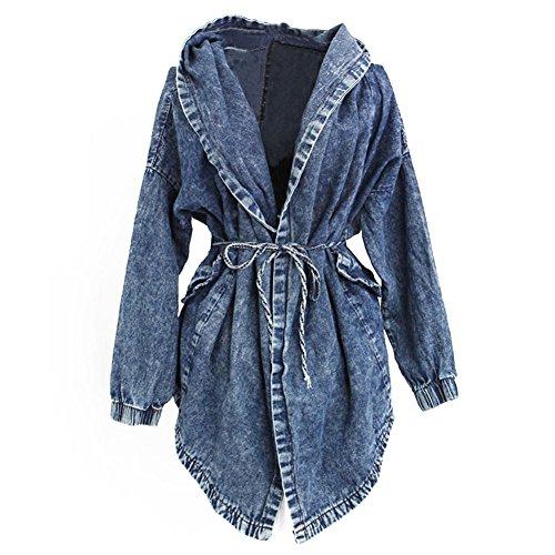 Mailanda Ausgefallene Stylische Damen Lady Jeansstoff Trenchcoat Jeansjacke Kapuzen Pullover Mantel Hoodie Hooded Outerwear Jean Jacket Jacke One Size