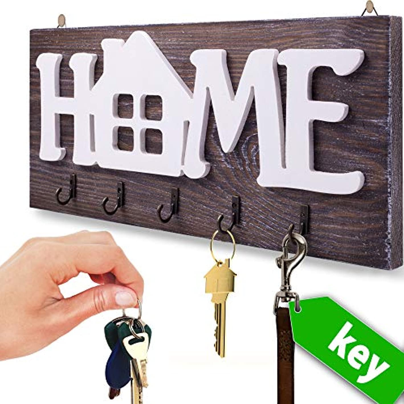 """I.S.Company- Key Holder for Wall """"Home"""" Natural Wood 
