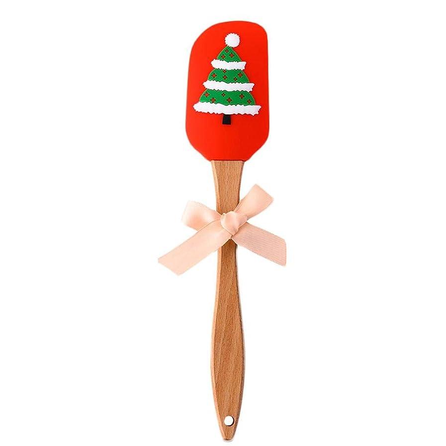 地区三苦悩クリスマスパターンワイパー、バタースクレーパー、木製ハンドルワイパー、クリスマス用食品グレードシリコーン(opp)
