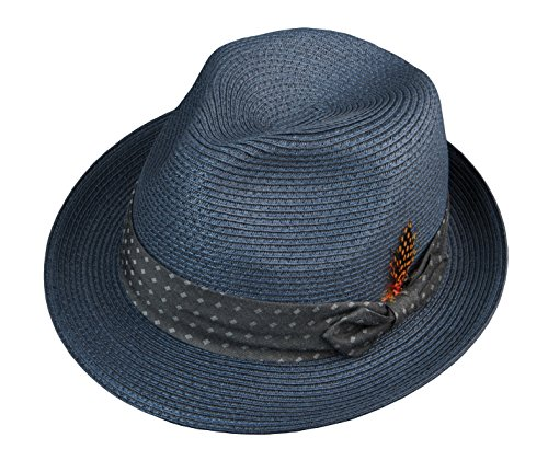 Broner Mens Pinch Front Fedora with Dotted Band, Faded Navy, S M