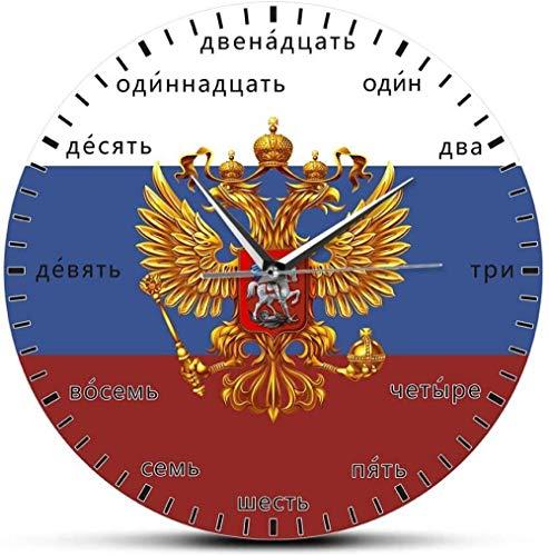 Wanduhr Russisches Wappen Doppeladler Patriotische Moderne Wanduhr Russische Sprache Digitale Stille Quarz Wanduhr 30 X 30 cm