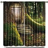 fucyBu Ladybug Tree House Forest Cortinas opacas para decoración del hogar y sala de estar para sala de estar, juego de 2 paneles de 183 x 160 cm