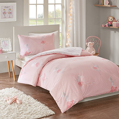 Amelia Reversible Printed Duvet Cover Set Single Size - Pretty Pink Ballerinas Princess Motifs Design - 2 Pcs Ultra Soft Hypoallergenic 100% Cotton Children's Bedding