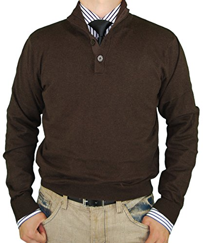 Luciano Natazzi Mens Sweater Classic Quarter Button Mock Neck Pullover Cotton (XXX-Large, Chocolate)
