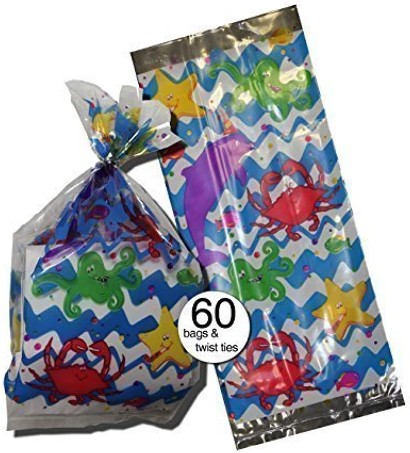 Ocean Fish and Sea Theme Design Party Treat Clear Cellophane Bags, 11 With Silver Twist Ties  Bulk Wholesale Pack of 60 by Party Creations