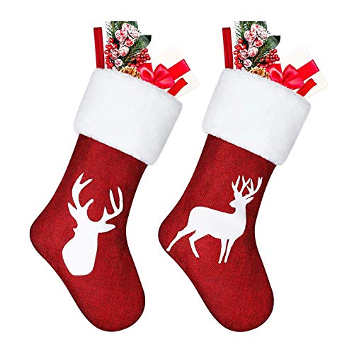 ZHANMAUU Christmas Socks 2pcs Christmas Stocking Set Reindeer Christmas Stockings Embroidered Burlap Stockings Fireplace Hanging Stockings for Xmas Holiday Party 1020