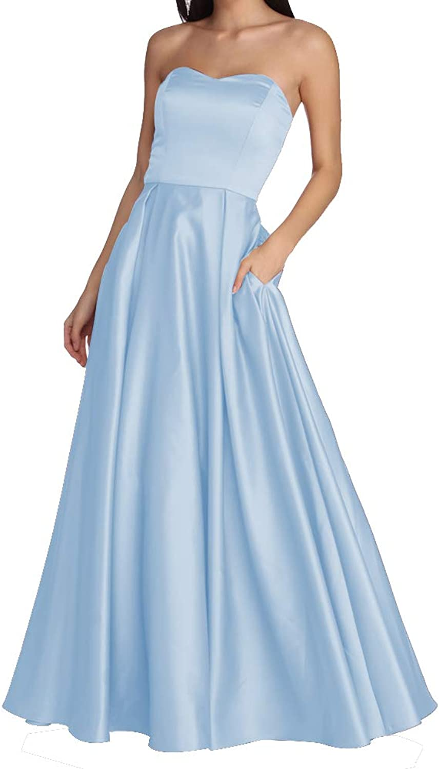 Women's Strapless Long Prom Dresses A Line Satin Homecoming Party Gowns with Pockets BD040