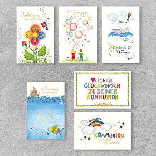 PremiumLine Glückwunschkarten zur Kommunion Set 6 Stück inkl. Umschlag Kommunionskarten 11,5 x 17,5 cm gedruckt auf umweltfreundlichem Naturkarton