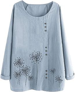 GUOCAI Womens Casual Long Sleeve Print Tops Cotton Linen Shirts Blouse