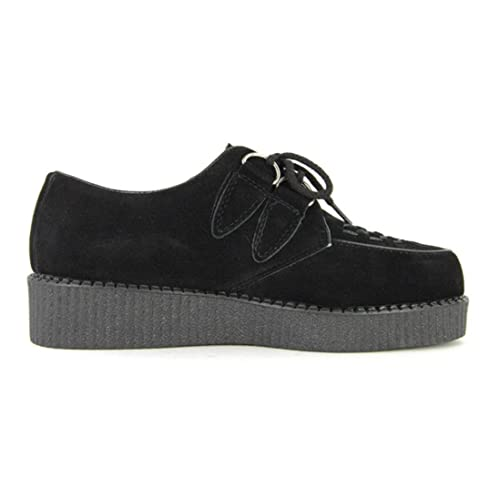 37c13d47d090 Mens Black Faux Suede Brothel Creepers Beetle Crusher Lace Up Vintage Retro  Punk Shoes Size