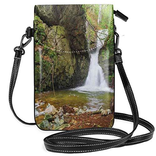 NA Frauen kleine Handy Geldbörse Crossbody, Herbstsaison Bild der historischen Wassermühle und Wasserfall Outdoor Natur Kunst