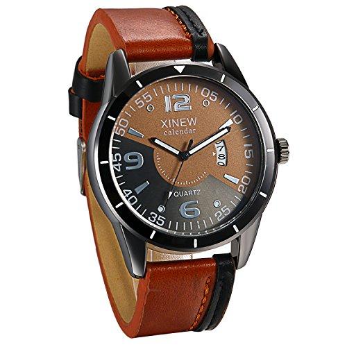 JewelryWe Mannen Analoge Auto Datum Quartz Horloge Bruin Lederen Band Creatieve Stopwatch Horloges