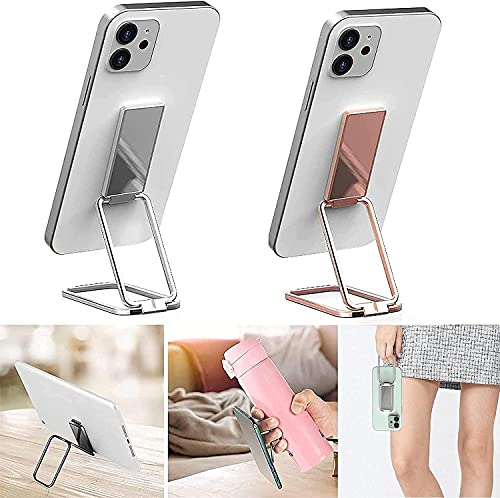 HEOLIEN Cell Phone Ring Holder Finger Kickstand, 360° Retractable Magnetic Phone Ring Holder for All Models of Cell Phones (Rose Gold+Silver)