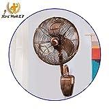 HRD - Ventilador de pared retro, ventilador en forma de S con mando a distancia, 35 W, 3 ajustes de velocidad, 5 colores, metal, blanco, Red copper
