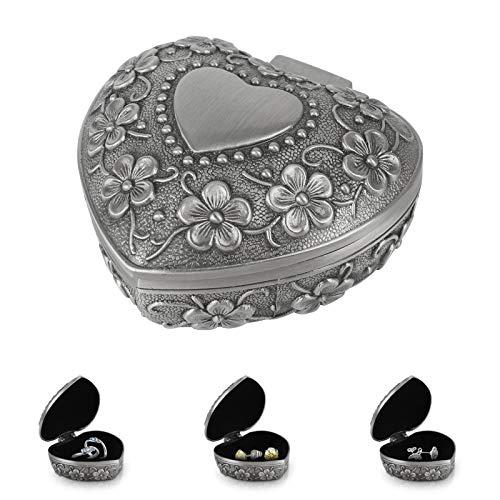 Metall Schmuckdose Vintage Schmuckkästchen Herzförmige Schmuckschatulle Ring Kette Ohrringe Schmuckbox für Damen Mädchen Hochzeiten Geschenke, Silber