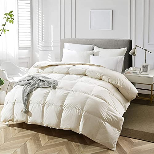 Aiglen Edredón grueso de invierno, edredón, mantas de edredón, relleno de plumas de ganso blanco, 100% algodón, tamaño King Queen, tamaño completo (Color : White, Size : 200X230cm 3100g)