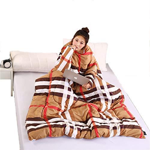 STAD Lazy Steppdecke mit Ärmeln, multifunktional, tragbar, für den Winter, hält warm, verdickt, gewaschenes Kissen, Decke für Hausaufgaben, Spiele, Handy, Paul Karte