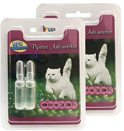 BPS 2Pcs Pipetas Repelentes Naturales para Perros Gatos Mascotas Anti Ácaros Pulgas Garrapatas Insectos Voladores Parásitos y Parasital (Pipetas Gato) BPS-4003 * 2