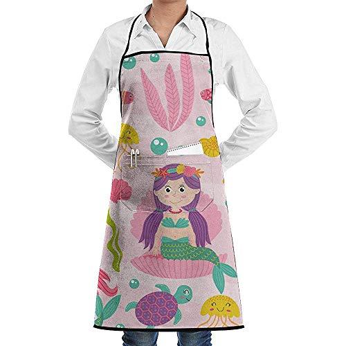 Katrine Store Nahtloses Muster-Rosa mit dem Meerjungfrau-Vektor-Bild besonders angefertigt, Schutzblech mit dem Taschen-Unisex verwendbar für Küchenchef kochend