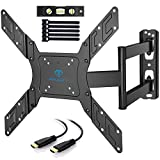 PERLESMITH TV Wall Mount for 23-55 Inch TVs with Swivel & Extends - Wall Mount TV Bracket VESA 400x400 Fits LED, LCD, OLED Flat Curved TVs up to 99lbs - with HDMI Cable, Bubble Level & Cable Ties