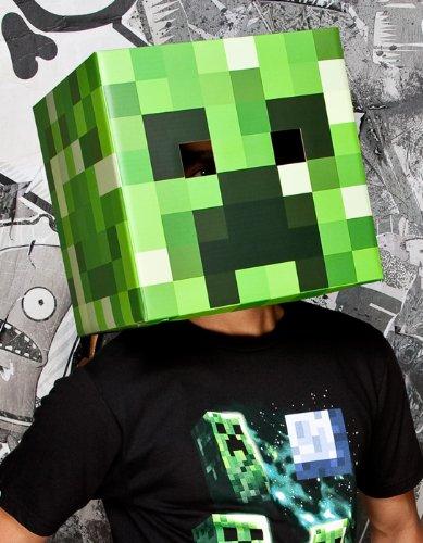 Minecraft Maske Creeper Kopf aus Karton in grün (30,5x 30,5cm)