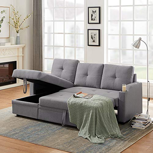 81inch Reversible Sleeper Sectional Sofa with Storage and 2 Cup Holder -Contemporary Corner Sectional with Pull-Out Sleeper and Chaise,3 Seat Sectional Sofa with Storage