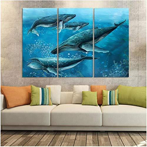 Gstbgbr 3 Stück Wandkunst Malerei Vier Haie Im Blauen Meer Meeresboden Fische Druck Auf Leinwand Das Bild Tier wohnkultur für Kinderbett Zimmer dekoration-60x80x3cm