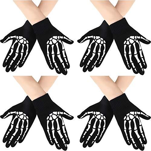 Syhood 4 Paar Halloween Skelett Handschuhe Unisex Stricken Glow in The Dark Handschuhe Vollfinger Halloween Kostüm Handschuhe für Halloween Kostüm Cosplay