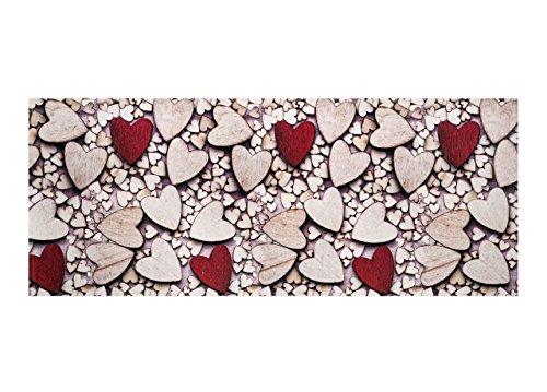 Biancheria Store Tappeto PASSATOIA Cucina GOMMATO Antiscivolo in 6 Misure - Tappetino Sala Camera E Multiuso - Fantasia Cuori Legno Rossi Beige - 58x190 Beige Rosso