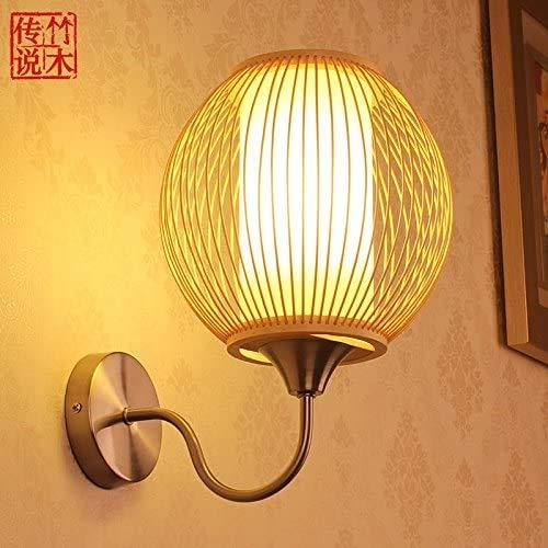 Mkj Moderne wandlampen voor nachtkastje, hal, bamboe en legende lampen, wandlampen, handgemaakt in Chinese stijl, LED-lampen voor nachtkastje, romantische lampen 18390