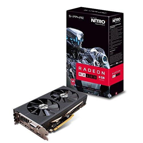 Sapphire NITRO+ Radeon RX 480 11260-07-20G Grafikkarte (AMD, 8 GB GDDR5 Speicher, PCI-E, geeignet für Windows 10, Windows 7) schwarz