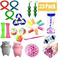 25 Pack Sensory Fidget Toys Set Liquid Motion Timer/Grape Ball/Flippy Chain/Stretchy String/Squeeze-a-Bean Soybeans/Slime/Mesh & Marble/Mochi Squishy for ADHD Autism Stress Anxiety Relief Adult Kids