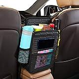Car Net Pocket Handbag Holder, ABE Leather Car Seat Back Organizer Mesh,Car Storage Bag&Purse Holder Between Seat,Tissue Purse Holder for Car,Dog Car Barrier (Black)