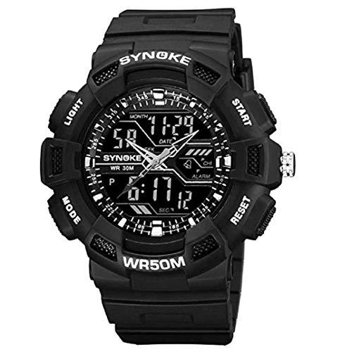 TOPOB Men's Outdoor Sport Watch Mountaineering Watch LED Digital Double Action Watch Multi-Function 50M Waterproof (Black)