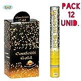 Disfrazjaiak Pack 12 cañones de confettis oro
