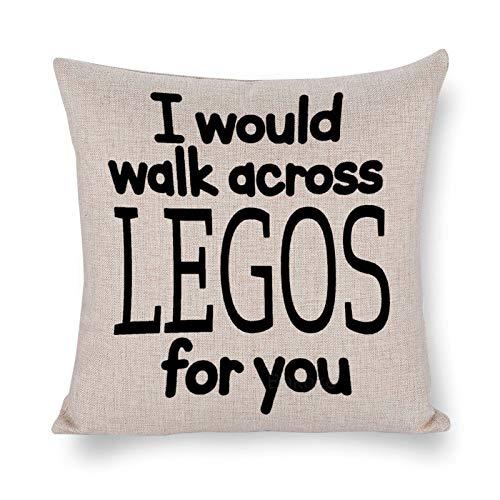 Blafitance I Would Walk Across Legos for You - Funda de almohada decorativa de lino con cita inspiradora, decoración rústica para el hogar, 66 x 66 cm