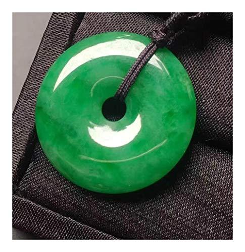 YUANYUAN520 Bella Armonía Tallados A Mano China Suerte Naturales Colgante De Jade Verde + Cuerda Collar De La Joyería De Moda Joyería (Color : Green)
