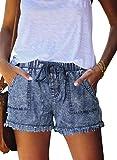 Asvivid Womens Ladies Elegant Summer Casual Comfy Short Drawstring Elastic Waist Summer Hot Sports Jeans Demin Shorts with Pockets Light Blue L