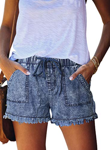 Asvivid Womens Ladies Elegant Summer Casual Comfy Short Drawstring Elastic Waist Summer Hot Sports Jeans Demin Shorts with Pockets Light Blue XL