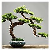 Bonsai Plant Árbol de pino artificial Bonsai, planta en maceta Faux de 19.6 pulgadas, ornamentos de olla de árbol...