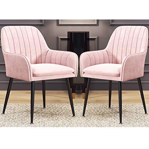 ZYXF Sillones Conjunto sillas Comedor Terciopelo Asiento Silla Cocina con Respaldo y reposabrazos Patas Metal Negro for Sala Estar/Dormitorio/cafetería/tocador (Color : Pink, Size : 2pcs)