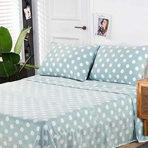 Nikazz 4 Piece Ultra Soft Fleece Sheet Set Dots Print Pattern 100 Polyester Bedding Sheet Set product image