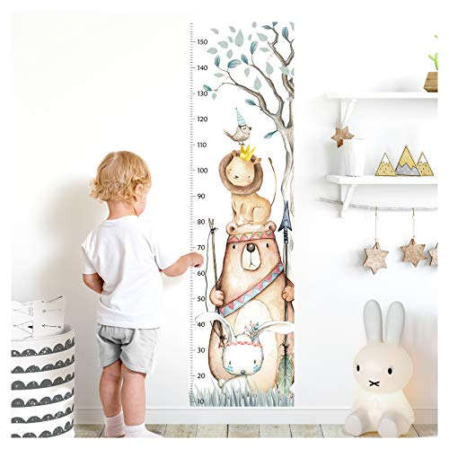 Little Deco Wandaufkleber Kinderzimmer Junge Mädchen Messlatte | 150cm Bär Hase Löwe Vogel | Tiere Wandtattoo Kinder Wandsticker Aufkleber Dekoration DL459
