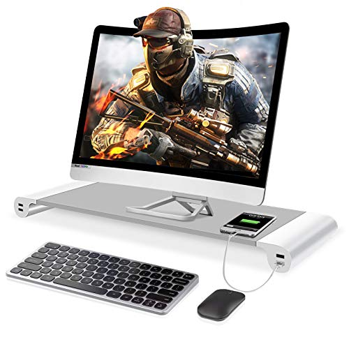 Airsnigi Monitor Stand Riser, Desk Monitor Stand with 4 USB 3.0 Charging Port, Monitor Riser for Laptop/TV Printer/Fax Machine/Computer/iMac/MacBook
