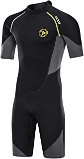 ZCCO Men's Wetsuits 1.5/3mm Premium Neoprene Back Zip Shorty Dive Skin for Spearfishing,Snorkeling, Surfing,Canoeing,Scuba Diving Suits